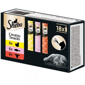 Sheba Creamy Snacks – Cremiges Katzen-Leckerli – Praktische 12g-Sachets zum aus der Hand Schlecken – verschiedene Sorten