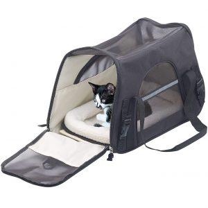 Sweetypet Hand- & Auto-Transporttasche für Haustiere bis 8 kg, schwarz