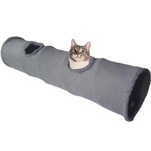 LeerKing Katzentunnel Katzenspielzeug Faltbar Spieltunnel Rascheltunnel für alle Katzen und kleine Tiere