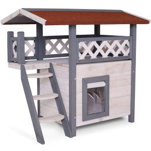 dibea Katzenhaus Lodge Holz für Katzen mit Terrasse und Treppe 77x50x73 cm
