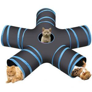 Cozy Vibe Katzenspielzeug Katzentunnel, Katze Spielzeug Hundenspielzeug Spieltunnel 4-Wege 5-Wege Pet Play Tunnel Tube für Katze, Welpe, Kitty, Kätzchen, Kaninchen